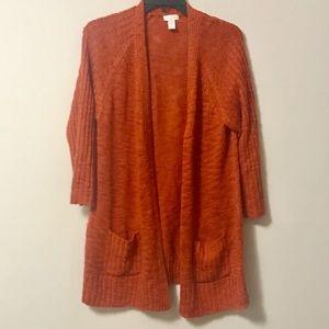 Chico's Orange Sweater Cardigan